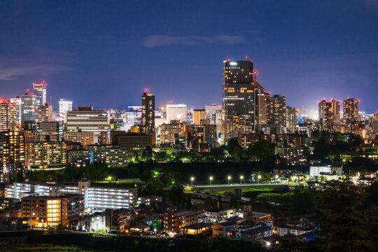 仙台城跡から望む市内中心部 夜景