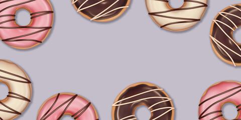Obraz Pączki na jasnym tle. Pyszne ciastka z kolorową polewą. Tło dla dla piekarni, cukierni, kawiarni, ilustracja do social media, na menu, baner, ulotki, plakat, tapeta, kartki. - fototapety do salonu