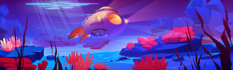 Obraz Underwater sea landscape with submarine, aquatic plants and animals. Vector cartoon illustration of ocean bottom with bathyscaphe with propeller and light, seaweed and actinias - fototapety do salonu