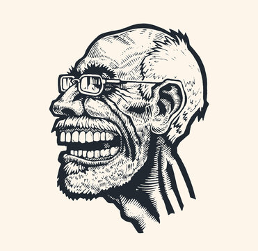 The old man with glasses laughs unkindly. A noisy, disagreeable old troll. Vector illustration