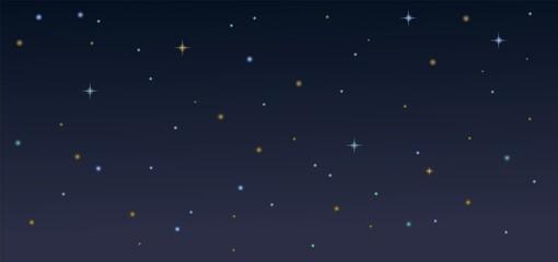 Obraz Night starry sky. Illustration in cartoon style flat design. Heavenly atmosphere. Vector - fototapety do salonu