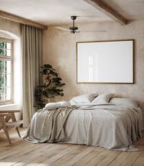 Obraz Mockup frame in rustic bedroom interior background, 3d render - fototapety do salonu