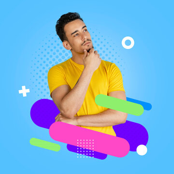 Contemporary artwork. Young serious man in yellow t-shirt isolated on colorful neon backgroud. Human emotions concept.