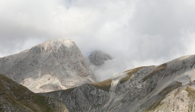 Apennines in the Abruzzo region in Central Italy and the mountain called Gran Sasso with cloud