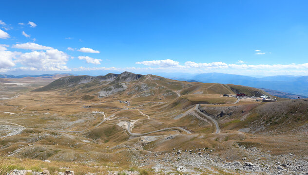 Apennines in the Abruzzo region in Italy the wide valley called CAMPO IMPERATORE