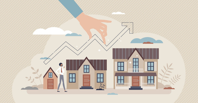 Real estate growth with market value rising for houses tiny person concept. Demand development and construction prices progress vector illustration. Residential investment as mortgage or rent business