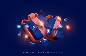 Obraz Christmas gift box. Presents with surprise, wrapped in bright light burning garland. Xmas festive background with realistic 3d design element. Happy New Year. Two blue boxes. Vector illustration - fototapety do salonu