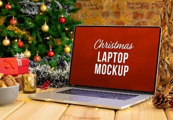 Obraz Christmas Laptop Mockup - fototapety do salonu