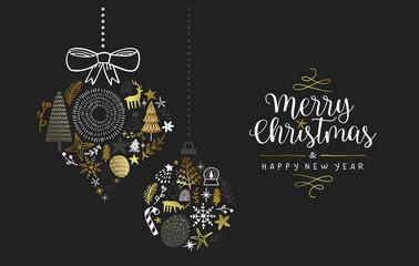 Obraz Christmas New Year gold winter doodle ornament - fototapety do salonu