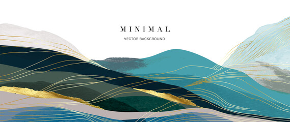 Obraz Mountain background vector. Minimal landscape art with watercolor brush and golden line art texture. Abstract art wallpaper for prints, Art Decoration, wall arts and canvas prints.  - fototapety do salonu