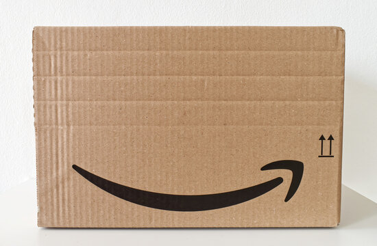 Bologna - Italy - September 21, 2021: Amazon Prime package box isolated on white background