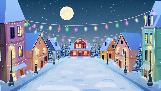 winter city street in cartoon