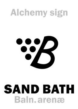 Alchemy Alphabet: SAND BATH (Balneum arenæ), Sandbath — container of heated sand, used in Laboratory to supply uniform heating. Alchemical sign, Medieval symbol.