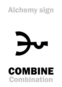Alchemy Alphabet: to COMBINE with… (COMBINATION, COMPOSITION) — alchemical process. Also: to Add (Addition). Alchemical sign, Medieval symbol.