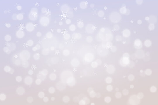 Blurry snow background. Abstract wInter holidays backdrop. Pastel color pallete. Line art snowflakes.