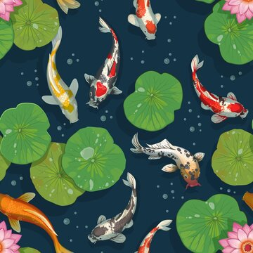Koi fish pattern. Golden carps seamless texture. Oriental traditional background template with water lily and Japanese goldfish. Underwater animals swimming in pond. Vector Chinese print