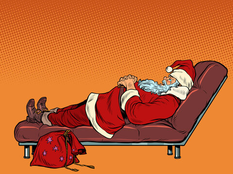 Santa Claus is sleeping on the couch. Christmas night. Rest after the holidays