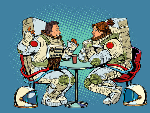 Astronauts man and woman couple date in a cafe. Meeting two friends