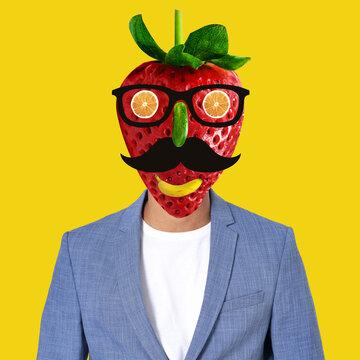 Collage d'Art, portrait de monsieur fraise
