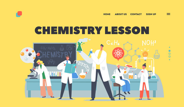 Chemistry Lesson Landing Page Template. Schoolkids Conduct Experiment in Class. Researchers Characters in Classroom