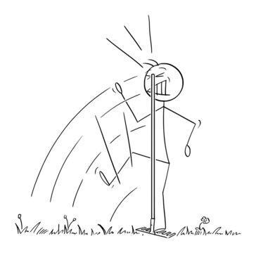 Person or Gardener or Farmer Step on Rake Hidden in Grass and Was Hit to Head , Vector Cartoon Stick Figure Illustration
