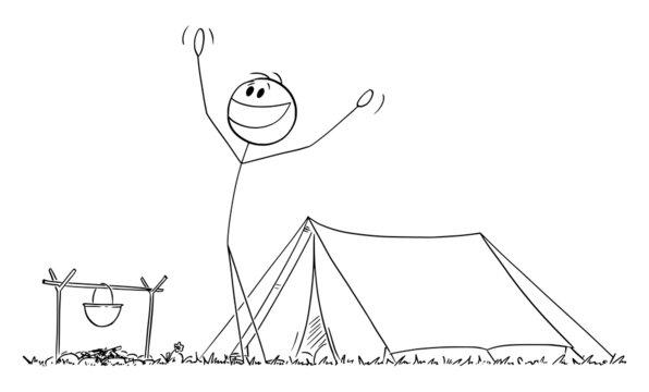 Happy Person Enjoying Morning Near Tent in Nature , Vector Cartoon Stick Figure Illustration