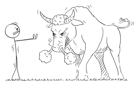 Person or Businessman Watching Dangerous Angry Bull, Financial Market Concept, Vector Cartoon Stick Figure Illustration