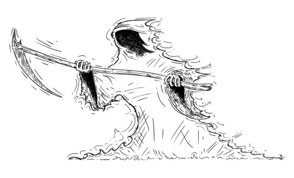 Grim Reaper or Death Personification with Scythe, Vector Cartoon Conceptual Illustration