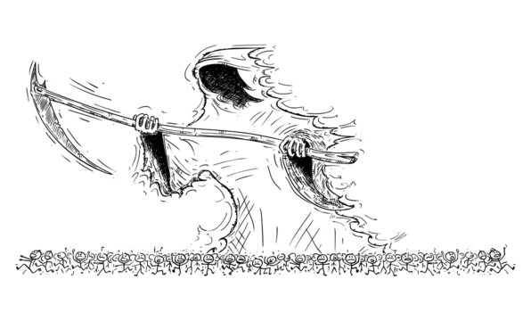 Grim Reaper or Death Personification Scythe Crowd of People, Vector Cartoon Stick Figure Illustration