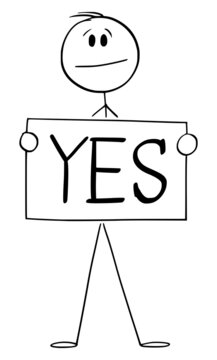 Person Holding Yes Sign , Vector Cartoon Stick Figure Illustration