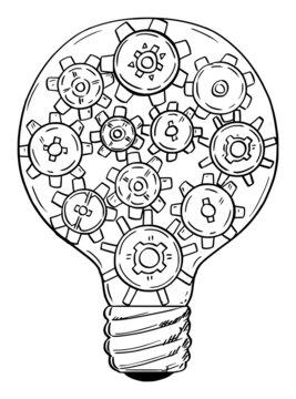 Light Bulb and Cow Wheels, Innovation and Creativity Concept, Vector Cartoon Illustration