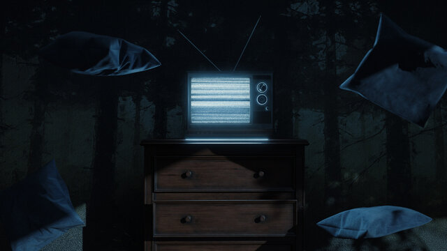 3d rendering of a haunted room with an old television and static screen. Surrounded by flying pillows