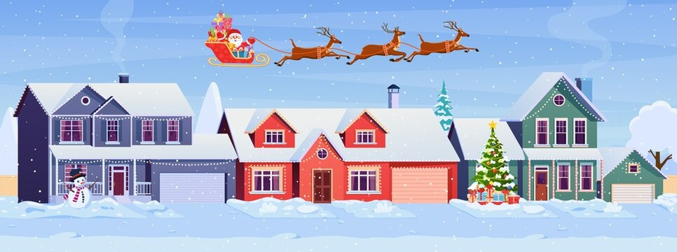 Residential houses with christmas decoration