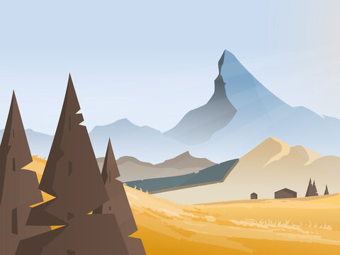 Mountain landscape at sunset, vector illustration. Autumn nature in the mountains