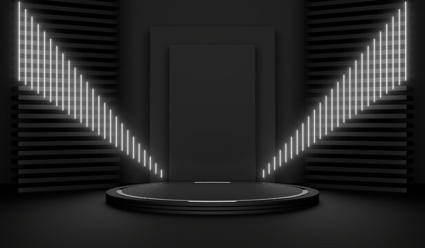 Sci Fi Pedestal, Podium, Place For Product. White Neon Glow. 3D Rendering Image.