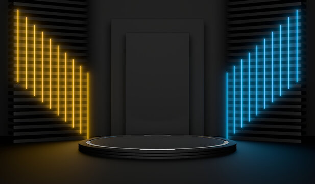 Sci Fi Pedestal, Podium, Place For Product. Colored Neon Glow. 3D Rendering Image.