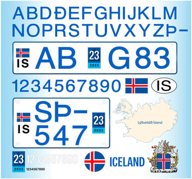 Iceland car license plate, letters, numbers and symbols, vector illustration
