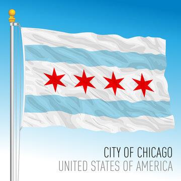 City of Chicago flag, Illinois, United States, vector illustration