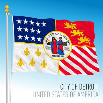 City of Detroit flag, Michigan, United States, vector illustration